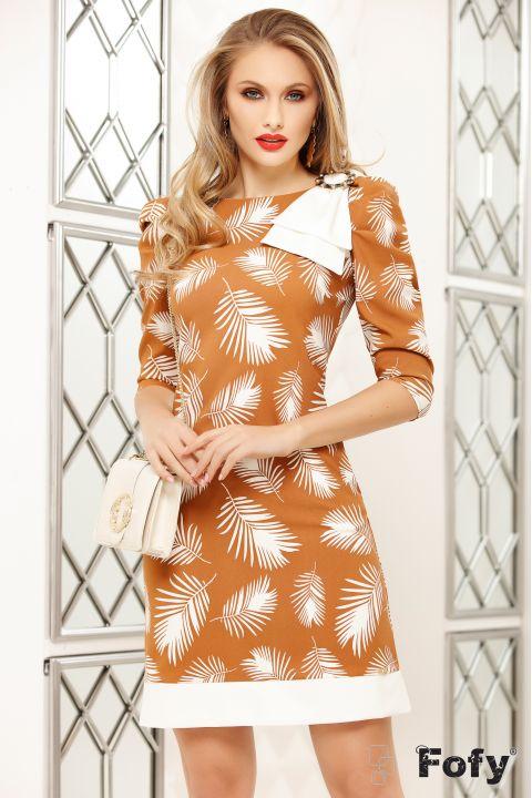 Rochie Fofy caramel cu imprimeu frunze stilizate