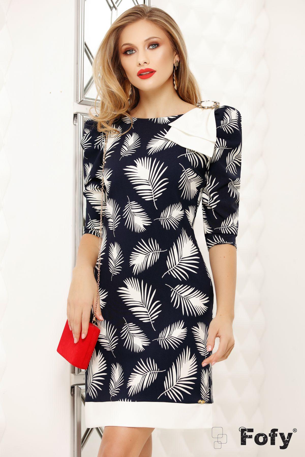 Rochie Fofy bleumarin cu imprimeu frunze stilizate