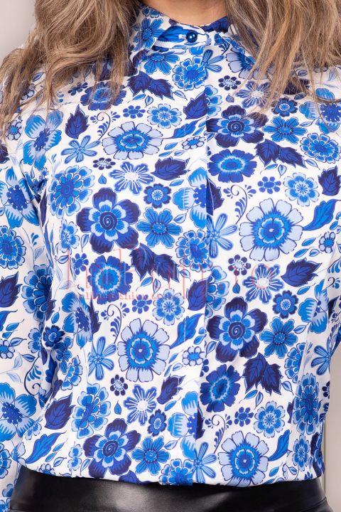 Camasa Pretty Girl cu imprimeu floral albastru