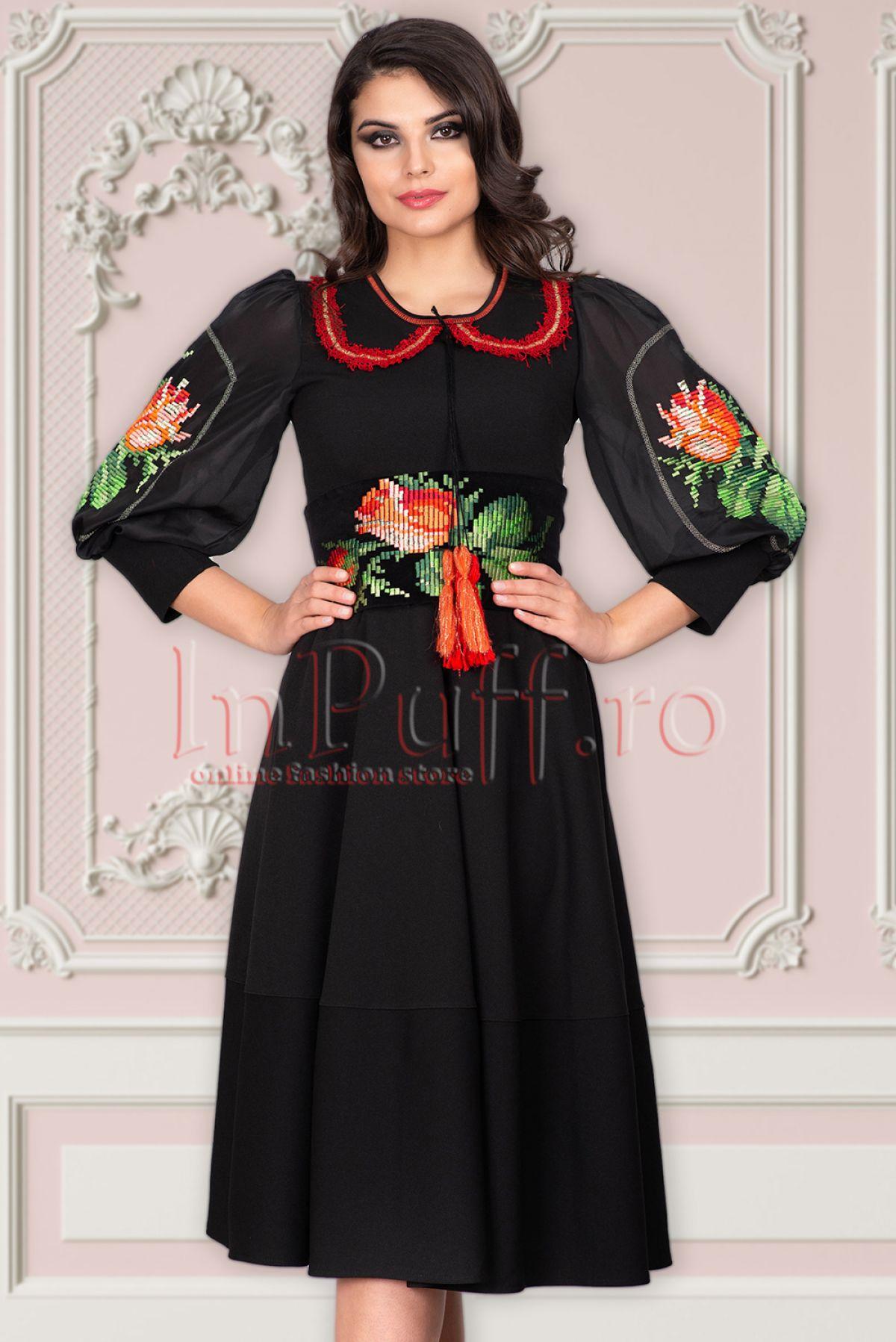Rochie Venezia neagra in clos cu broderie traditionala Venezia-Artigiano-Moda