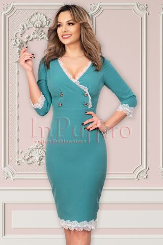 Rochie MBG turquoise cu broderie alba