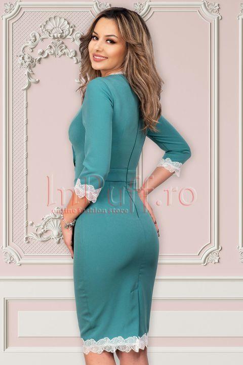Rochie MBG turquoise cu broderie alba