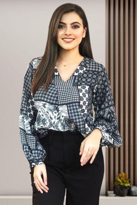 Bluza Moze cu imprimeu alb negru