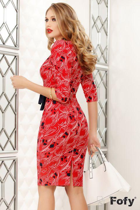 Rochie Fofy rosie cu esarfa in contrast si imprimeu