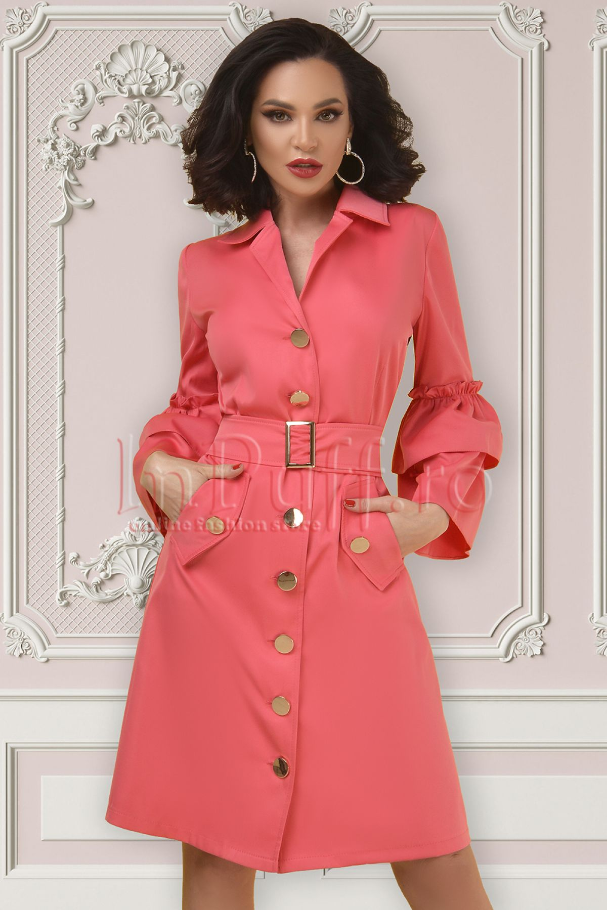 Rochie tip camasa Atmosphere roz cu maneci clopot Atmosphere