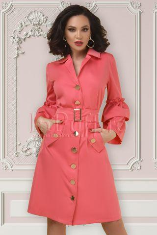 Rochie tip camasa Atmosphere roz cu maneci clopot