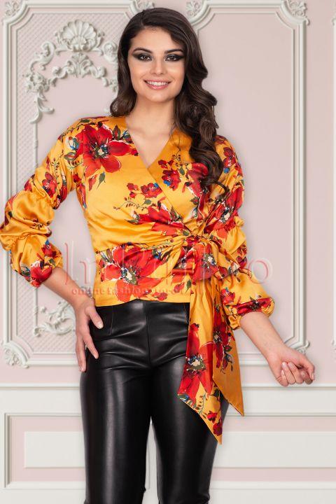 Bluza MBG mustar din satin cu imprimeu floral