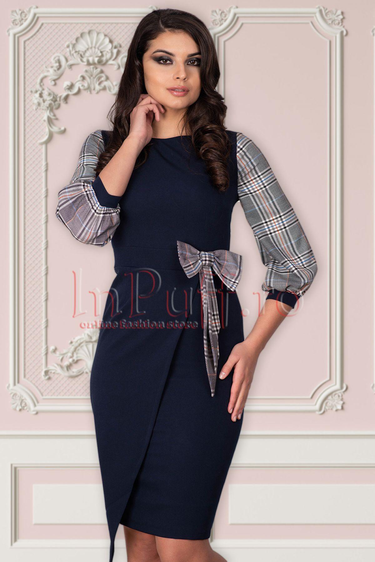 Rochie MBG bleumarin cu carouri MBG-Collection