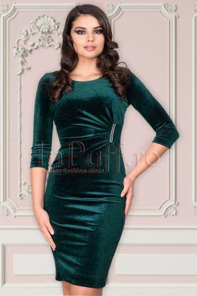 Rochie eleganta Vessmarry verde cu sidef