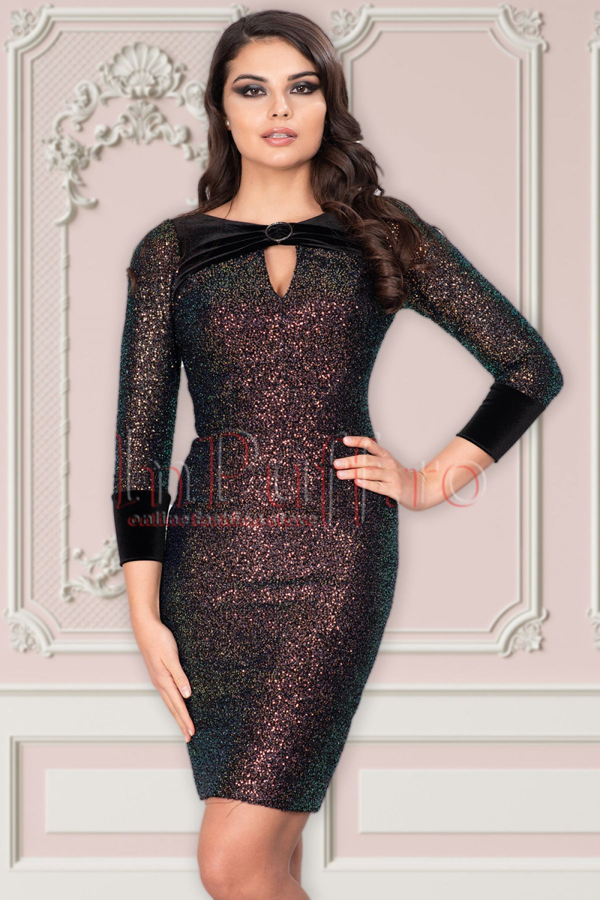 Rochie Vessmary cu paiete multicolore InPuff-Young