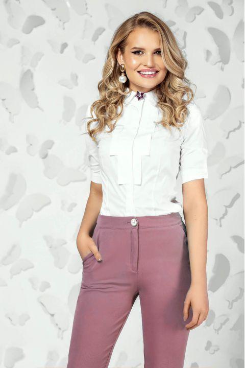 Camasa Pretty Girl office din bumbac cu brosa