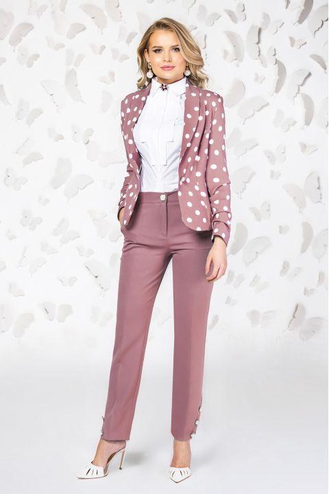 Sacou Pretty Girl office roz cu buline albe