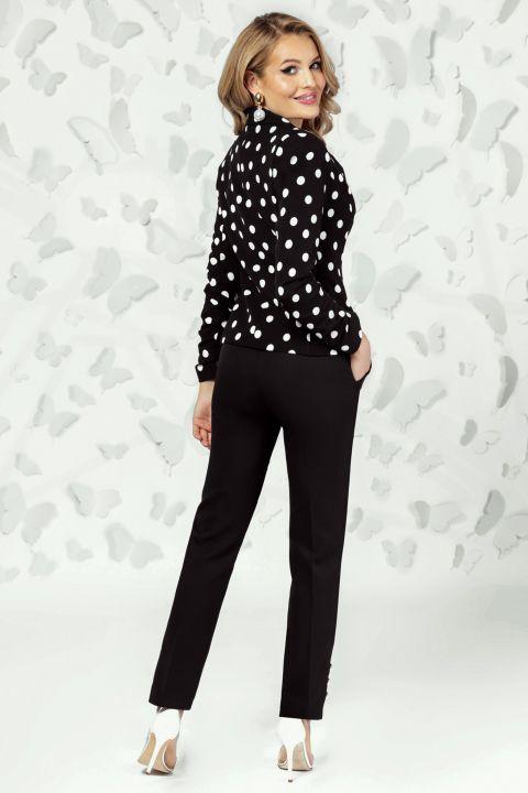 Pantaloni Pretty Girl office negri cu nasturi tip perla