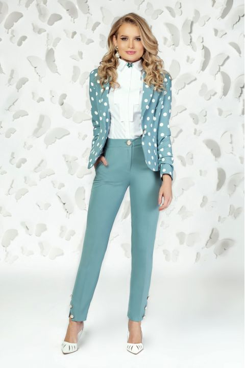 Pantaloni Pretty Girl office turquoise pudrat cu nasturi tip perla