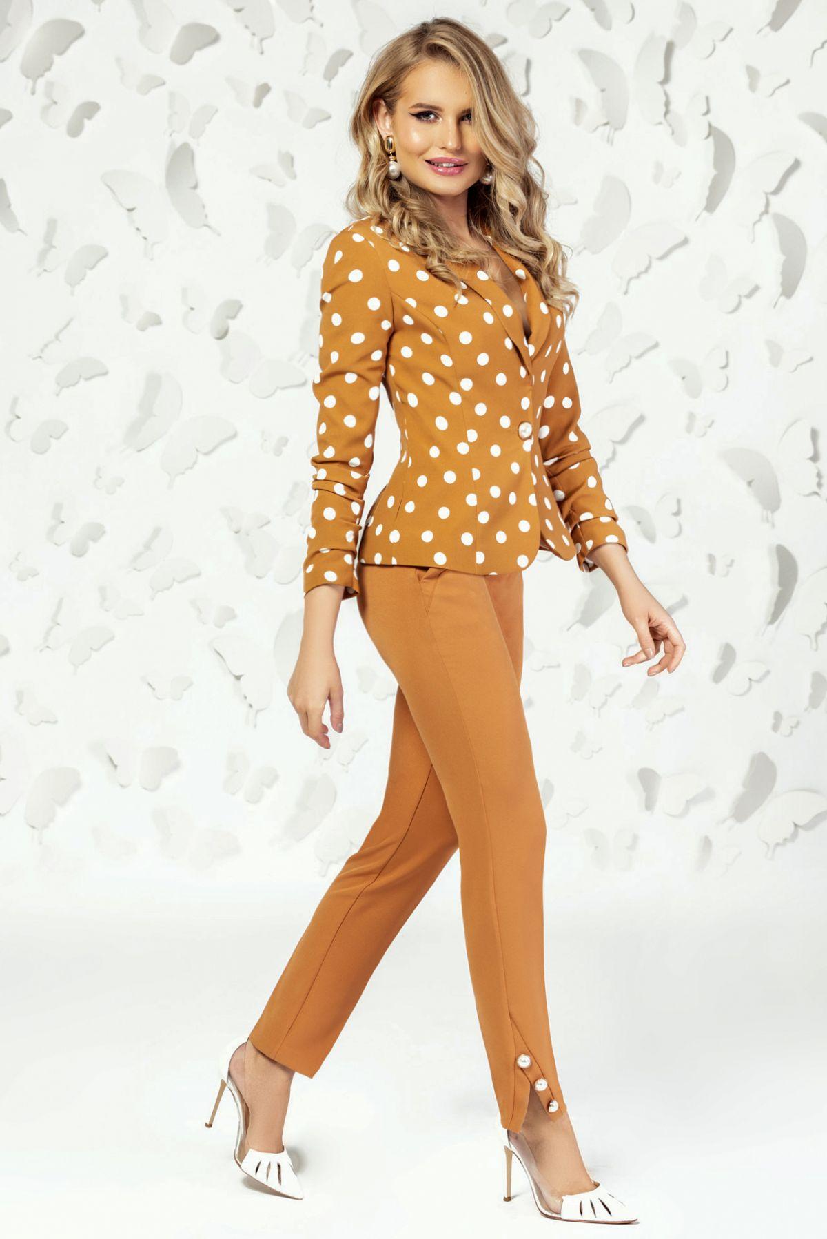 Pantaloni Pretty Girl office caramel cu nasturi tip perla