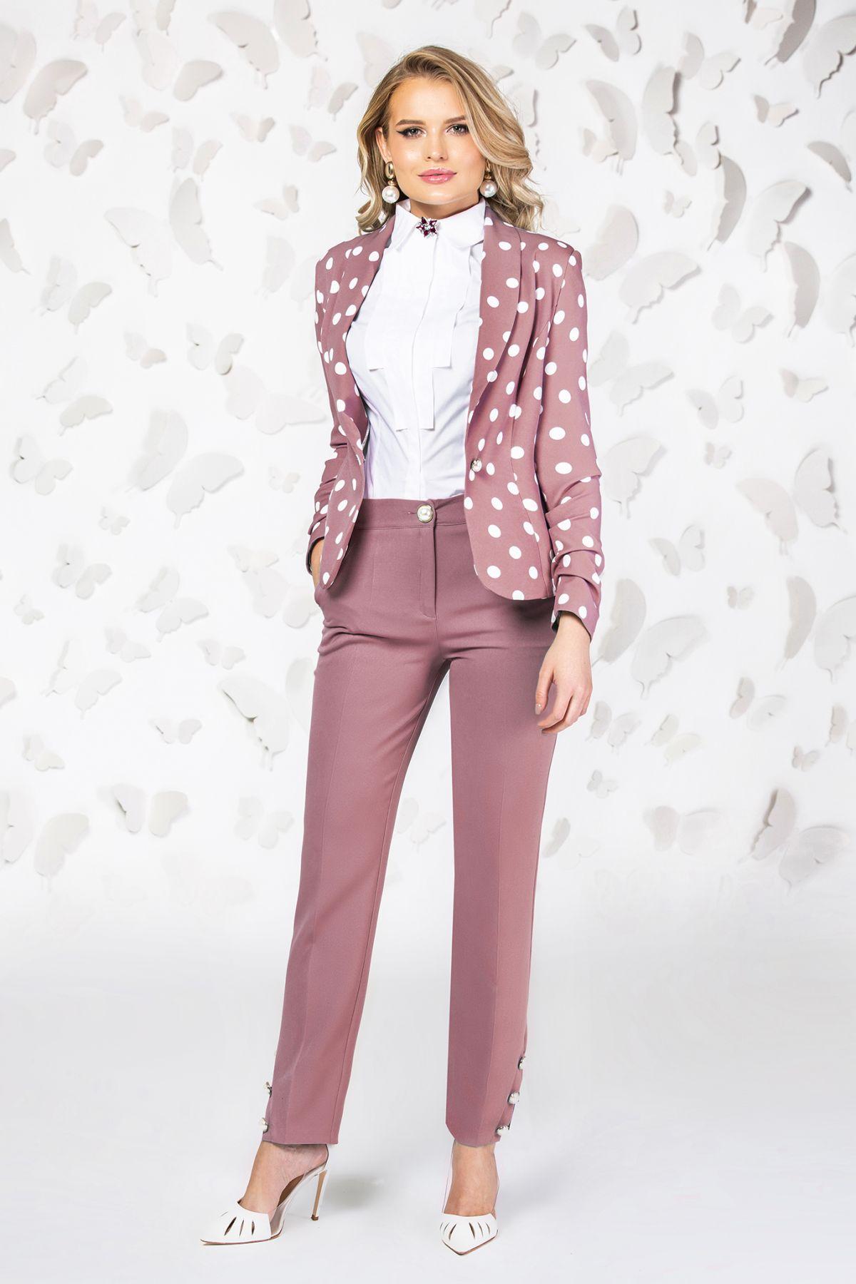 Pantaloni Pretty Girl office rose cu nasturi tip perla