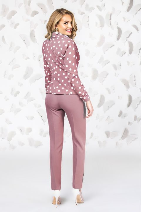 Pantaloni Pretty Girl office rose cu nasturi tip perla