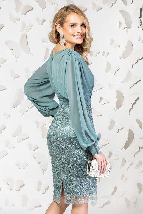 Rochie de ocazie Pretty Girl turquoise prafuit cu dantela pretioasa