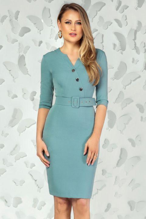 Rochie office Pretty Girl turquoise cu nasturi si curea in talie