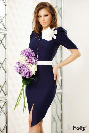 Rochie Fofy bleumarin cu floare detasabila si cordon in talie
