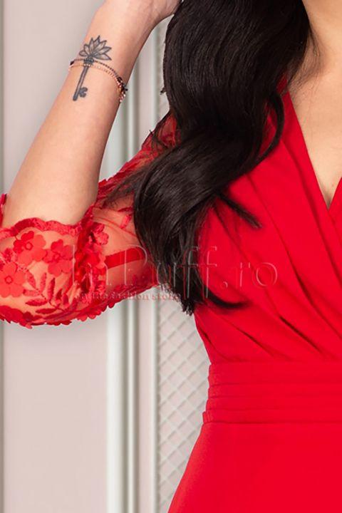Rochie MBG eleganta rosie cu maneci brodate