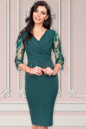 Rochie MBG eleganta verde cu maneci brodate