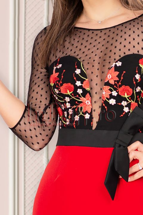 Rochie MBG de ocazie cu broderie florala si funda stilizata