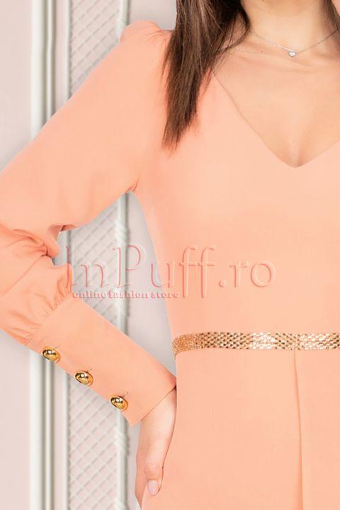 Rochie MBG de ocazie piersica cu o maneca transparenta