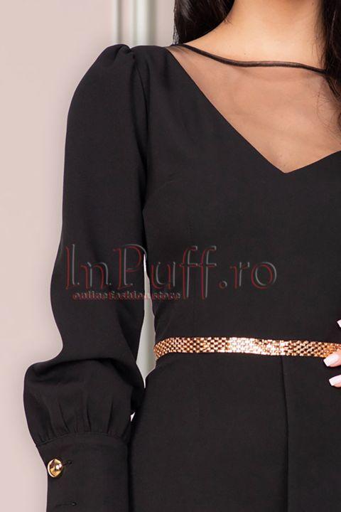 Rochie MBG de ocazie neagra cu o maneca transparenta