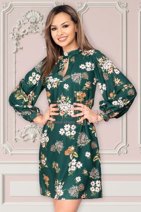 Rochie Moze verde cu imprimeu floral si maneci bufante