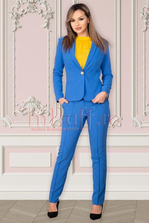Pantaloni La Donna office albastri
