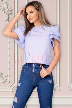 Bluza casual Raspberry cu volanase la maneci