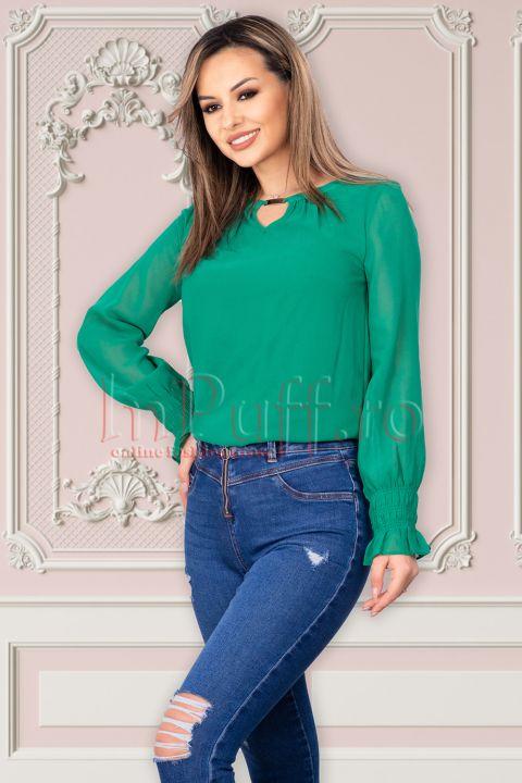 Bluza verde Raspberry din voal cu accesoriu metalic