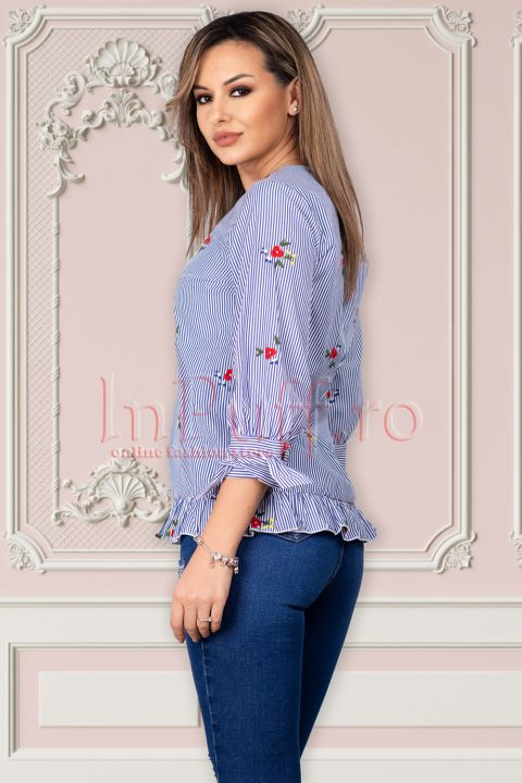 Bluza Artista de zi cu dungi si imprimeu floral