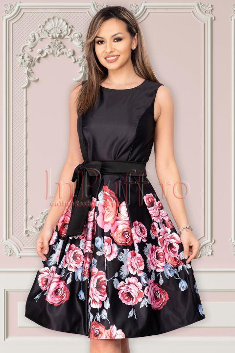 Rochie Artista neagra din tafta cu imprimeu floral