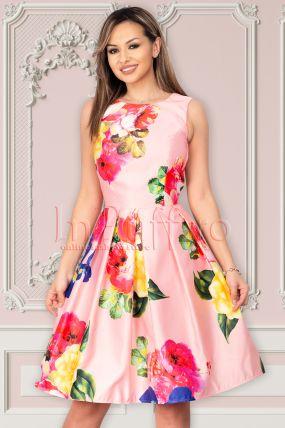 Rochie Artista roz cu imprimeu floral