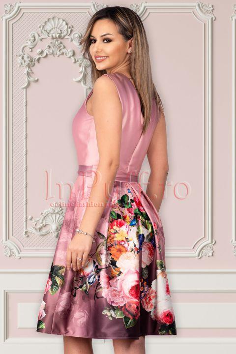 Rochie de ocazie Artista lila cu imprimeu floral