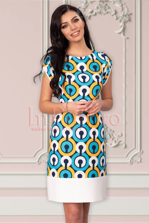 Rochie Xara cu imprimeu cercuri galbene si turquoise