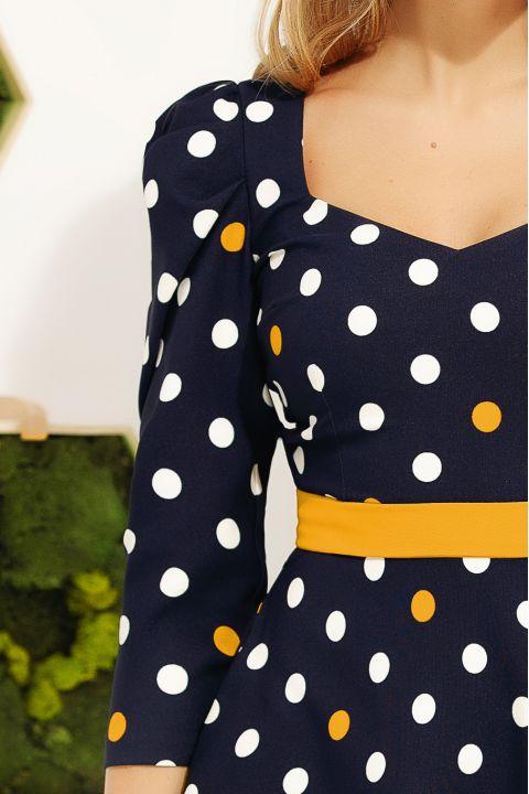 Rochie Fofy de zi cu imprimeu buline bicolore alb-mustar