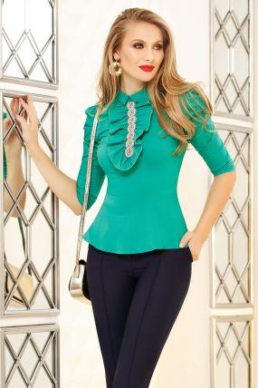 Camasa Fofy verde cu jabou, margele si strassuri