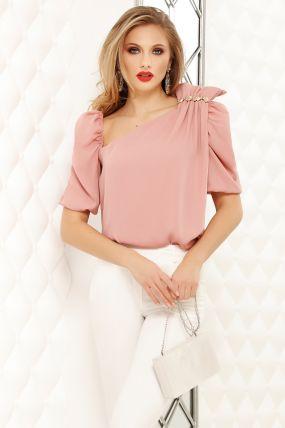 Bluza Fofy roz cu funda fronsata pe umar si accesoriu cu cristale