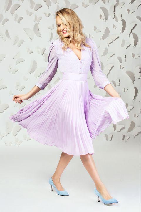 Bluza Pretty Girl lila din voal texturat