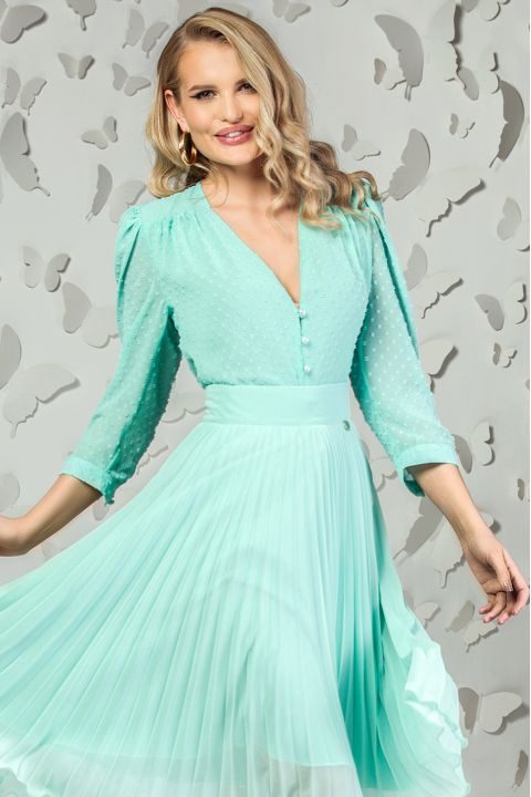 Bluza Pretty Girl mint din voal texturat