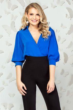 Body Pretty Girl albastru cu maneca bufanta
