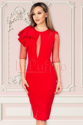 Rochie eleganta MBG rosie cu volanase pe umar si broderie aplicata