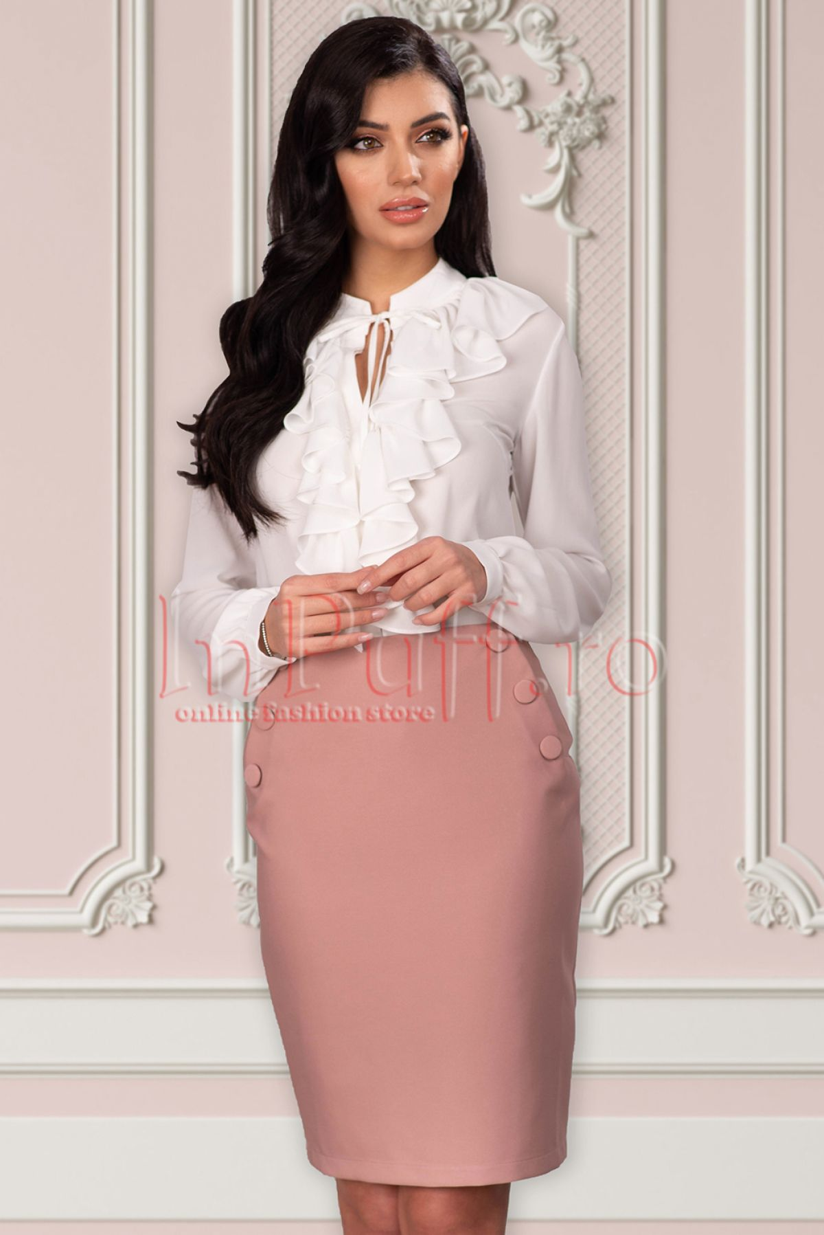Fusta La Donna roz prafuit accesorizata cu nasturi