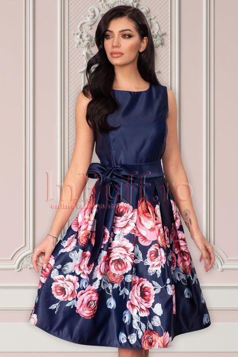 Rochie Artista bleumarin din tafta cu imprimeu floral