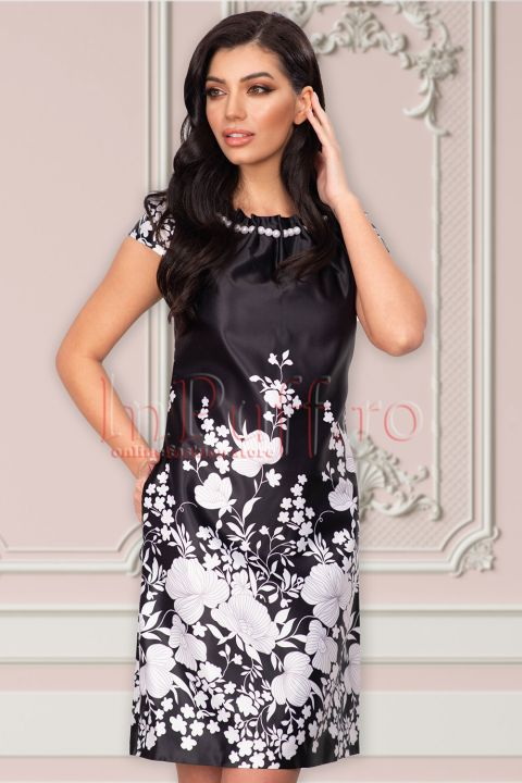 Rochie MBG neagra din tafta cu imprimeu floral si margele