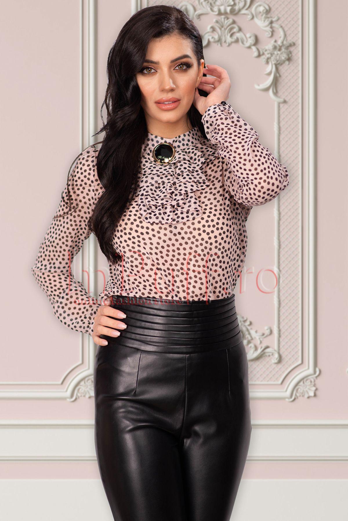 Bluza Fofy din voal rose cu buline negre - bluza fofy din voal rose cu buline 43046 - Bluza Fofy din voal rose cu buline negre