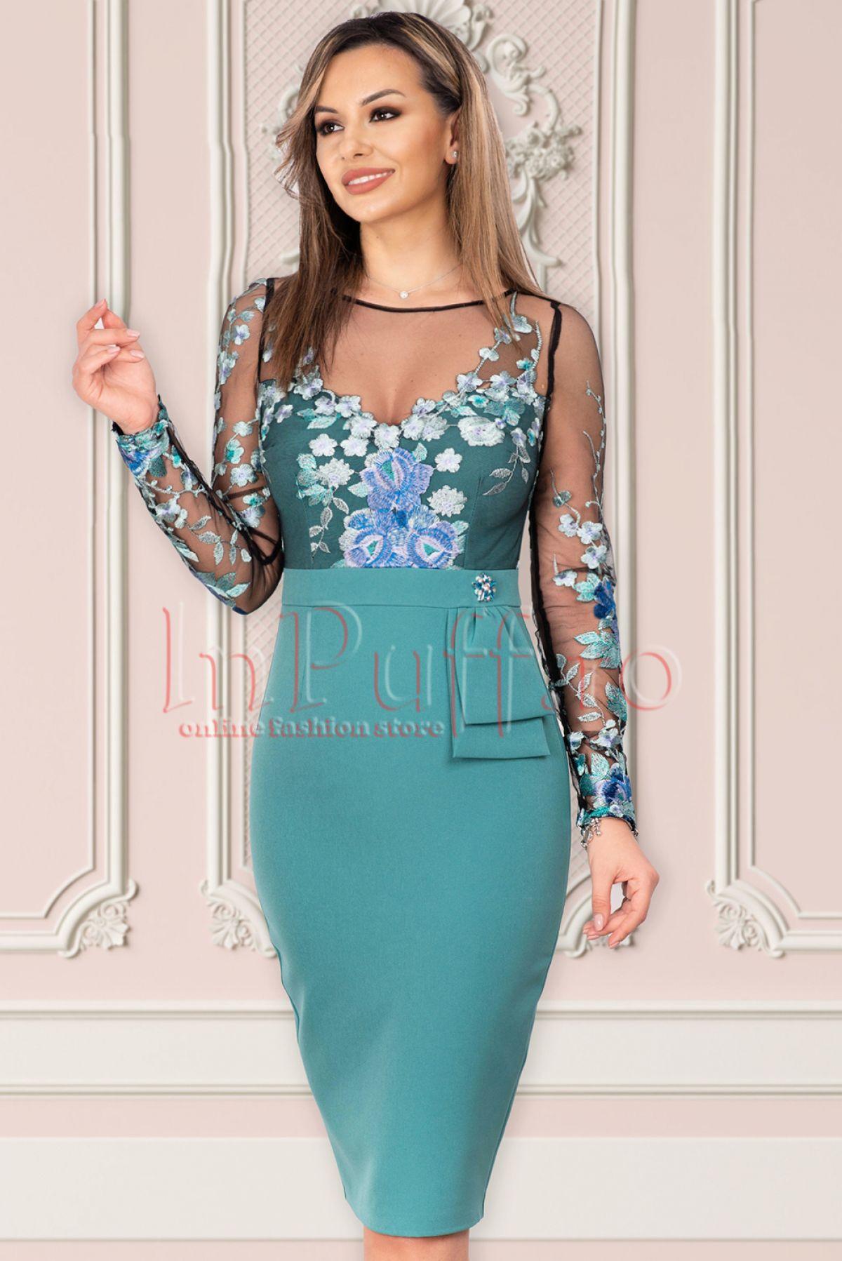 Rochie eleganta MBG turquoise cu broderie MBG-Collection